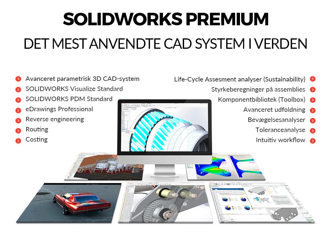 SOLIDWORKS premium 2018 - Det mest anvendte 3D CAD program