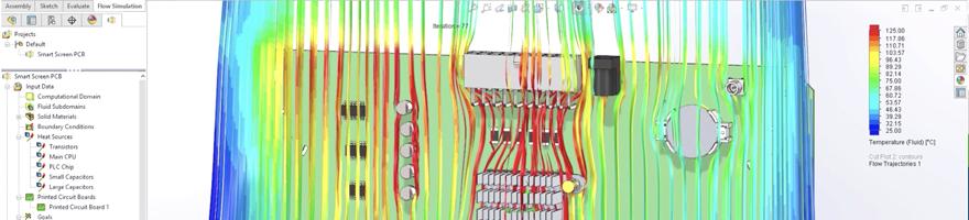 CircuitWorks kan også bruges med SOLIDWORKS Simulation Flow
