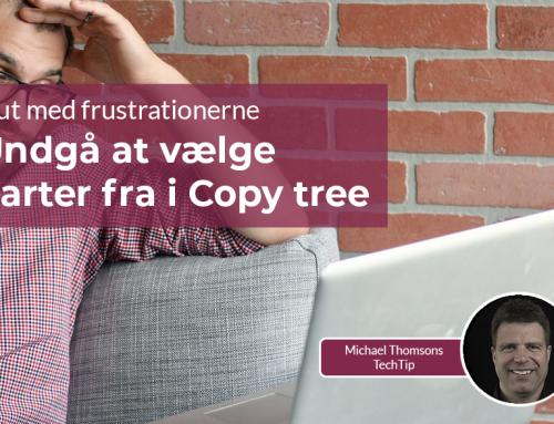 Undgå at vælge parter fra i Copy tree